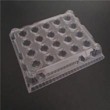Plateau transparent de support d'oeufs de réfrigérateur en plastique transparent pour les oeufs 65-70g