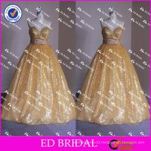 ED Bridal Bling Bling Golden Sequin Bow Belt Sleeveless Strapless Ball Gown Long Prom Dress 2017