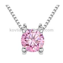 Collier italien haut de gamme bijoux en cristal rose délicat pour fille