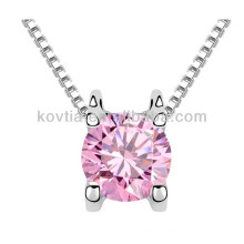 Colar de cristal rosa rosa delicada para a menina