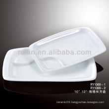 "special 10""white compartment porcelain plates rectangular"