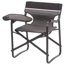 Cadeira dobrável portátil de alumínio com mesa giratória