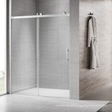 Seawin  1524Mm Wide Black Single Side Action Gold Frameless Glass Bathroom Sliding Shower Door