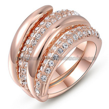 Anéis de cristal australiano de chapeamento de ouro de moda