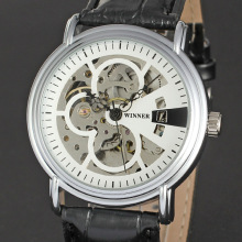 winner round alloy thransparent back case with skeleton dial watch