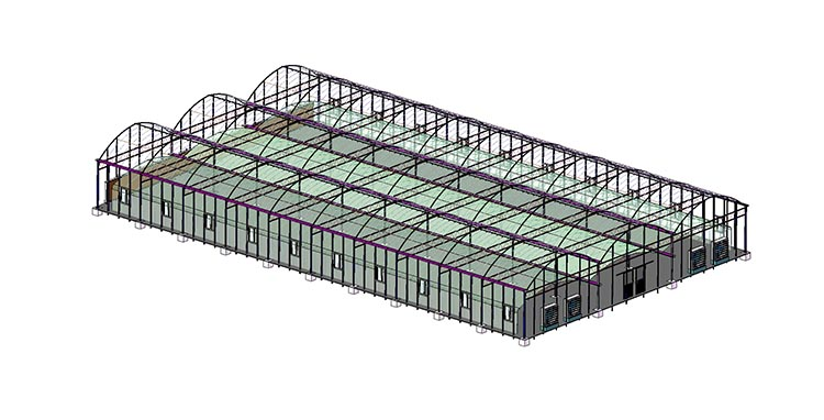 Multi Span Greenhouse Sketch