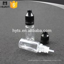 Botella plástica del animal doméstico de la botella del dropper del animal doméstico 10ml para el e-líquido con la tapa de rosca plástica