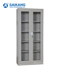 SKH052 Glass Door Metal Medical Equipment Cabinet With Lock