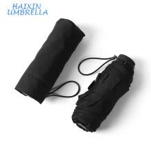 "Clásico negro de color negro Super Light 19 ""Promocional de tamaño pequeño bolsillo plegables Mini paraguas de viaje Proveedor"