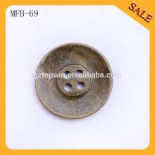MFB69 Custom 4 Hole Metal Fancy logo boutons de couture pour vêtements