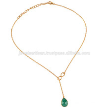 Green Chalcedony & Yellow Gold Vermil Silver Chain Neckalce for Women