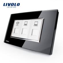 Розетка Livolo класса люкс с черным жемчугом и хрустальным стеклом США / AU Стандартный разъем TEL + COM + COM VL-C391TCC-82