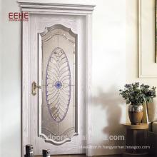 Porte affleurante en bois massif avec vitre pleine vue en porcelaine trempée