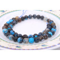 Vente en gros Gemsotne Strands Taille 6 8 10 12mm Mixed Blue Natural Blue Agate Slabs