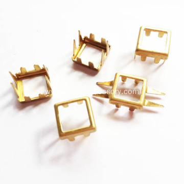 Square Studs Hollow Centered with 8 Prongs Back-Side