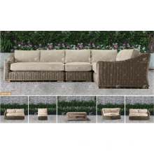 ALAND COLLECTION - 2017 Resina PE Muebles de mimbre sofá de esquina para muebles de jardín al aire libre