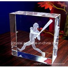 3D cadeaux de mariage de photo de laser cadeaux personnalisés de bloc de rectangle de cristal