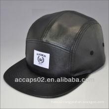 Hot custom cheap leather 5 panela hat