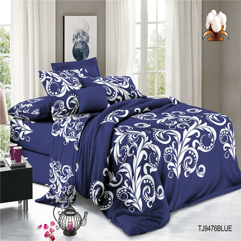 Skin Friendly Cotton Voile Print Polyester Bed Sets Sheets