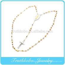 Placage sous vide tri couleur 5mm chapelet perles en acier inoxydable collier religieux or rose or Vierge Marie Pendentif Jésus Crucifie