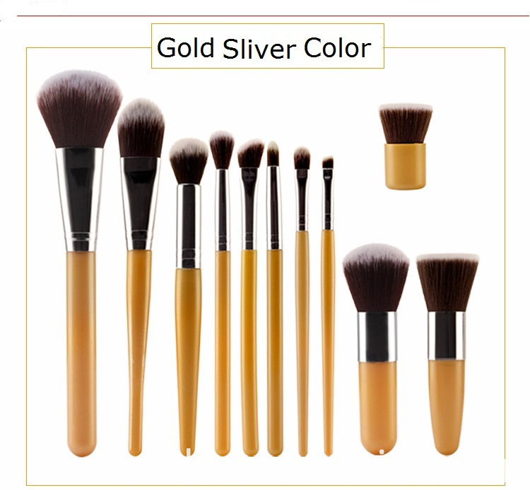 Gold Sliver Makeup Brush Set Color