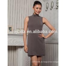 Mode Frauen Kaschmir Highneck Kleid ärmellos