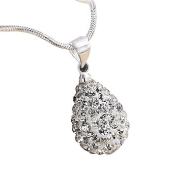 925 Silver Drop Shape Shamballa Pendant Necklace For Women