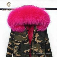 Manteau de parka militaire long hiver femme avec col en fourrure de reak