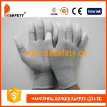 Carbon Fiber Gloves White PU Coated on Finger (DPU220)