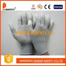 Углеродного волокна перчатки, Белый PU Покрынный на палец Dpu220
