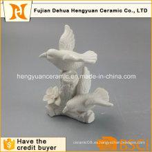 Decoración de jardín de artesanía de pájaros de cerámica blanca