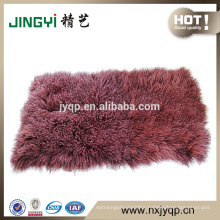 Wholesale Pure Long Hair Mongolian Tibet Lamb Fur Plates Dyed Double Colour