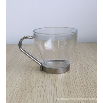 Mini Glass Coffee Cup,Clear Glass Mug,glass latte coffee mug with stainless steel handle.