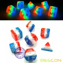 Bescon Glowing Polyhedral Dice 7pcs Set FRENCH KISS, Luminous RPG Dice Glow in Dark, DND Role Playing Game Dice