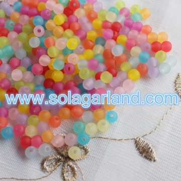 6-30MM Acrylic Plastic Jelly Color Rubber Style Beads Loose Round Beads Charms