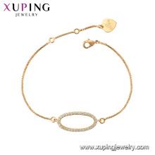 75789 xuping 18K plaqué or mode charme imitation cristal bracelet pour les femmes