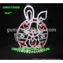 Grande couronne de lapin de lapin en rhinestone pour Pâques, tailles disponibles