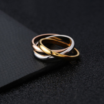 Interlocking Tri Warna Stackable Rings Band For Her