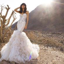 Mermaid Crystal Organza Bridal Gowns Wedding Dress (BH012)