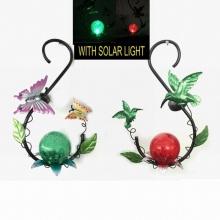 Metal Garden Hanging Solar Lighted Lantern Craft with Glass Ball Decoration