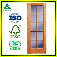 10lite / vidro sólido / folheado de madeira francês porta