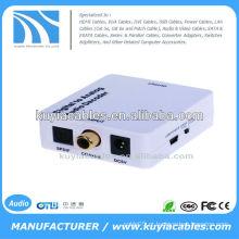 Sinais de áudio digital coaxiais ou Toslink para conversor de áudio analógico L / R RCA