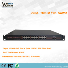 24chs penuh 1000M Double Fiber Port POE Switcher