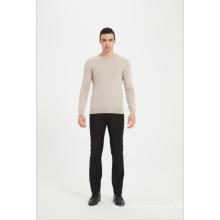 Men's Machine Washable Cashmere Round Neck Pullover Sweater