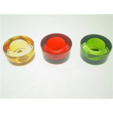 Round Clear Colorful Pressed Glass Tealight Candle Holder