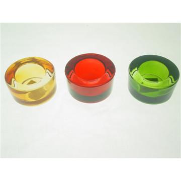 Круглый ясный красочный прессованный стеклянный подсвечник для свечей