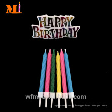 Seller Recommended 100% Fully Refined Paraffin Wax Joyful Spiral Birthday Cake Candle With HAPPY BIRTHDAY Motto