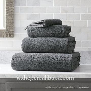 China atacado 600 grama 100% algodão 4 peça cinza toalha de banho