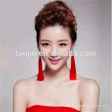 Einzigartige Design Fashion Red Lange hängende Quaste Ohrringe, Made in Hangzhou