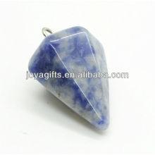 6 Side Cone Shape Sodalite Colgante colgante de piedra semi preciosa